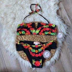 Mara Hoffman Pineapple Garland Bikini Set Black